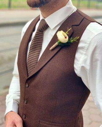 Коричневый костюм-двойка (жилет+брюки) Арт.:4-013-5
