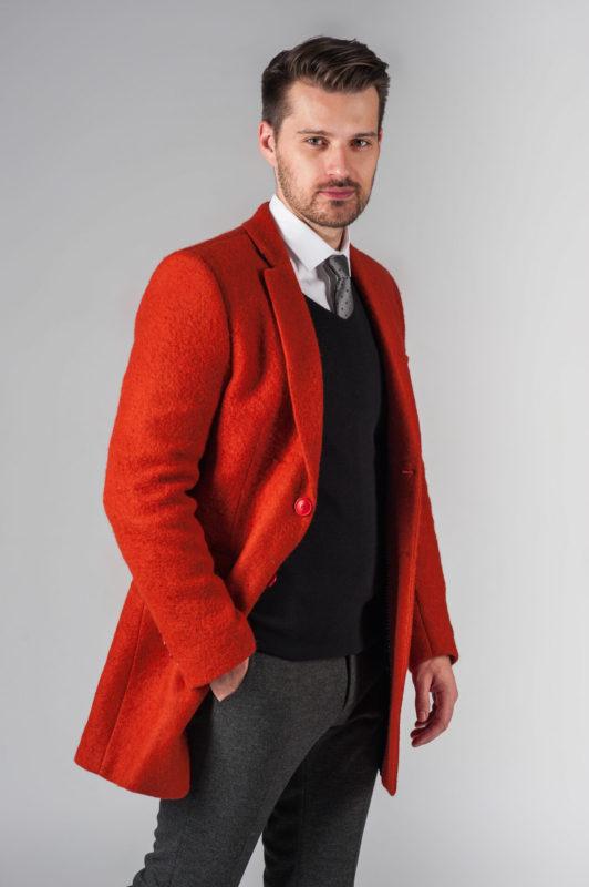 Модное мужское пальто приталенного кроя. Арт.:1-202-3