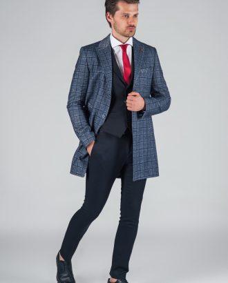 Мужское пальто в крупную клетку. Арт.:1-022-1