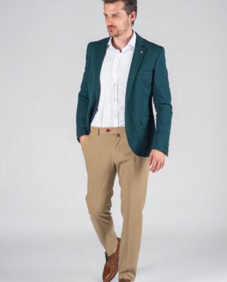 Зеленый мужской приталенный пиджак J-021BB
