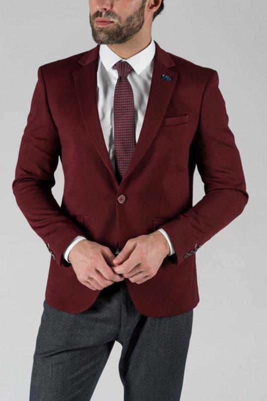 Приталенный мужской пиджак бордового цвета. Арт.:2-425-1