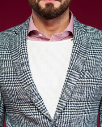 Серое приталенное мужское пальто в клетку. Арт.:1-435-3