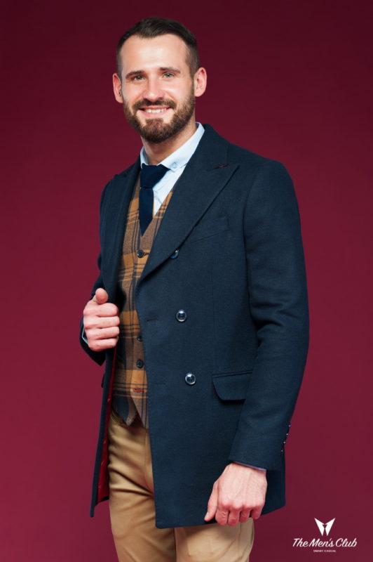 Укороченное мужское пальто синего цвета. Арт.:1-436-3