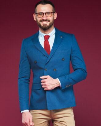Двубортный пиджак синего цвета J-449SM