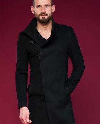 Стильное мужское пальто с косым бортом. Арт.:1-438-1
