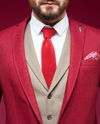 Красный мужской пиджак в стиле кэжуал J-454OW