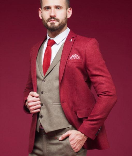Красный мужской пиджак в стиле кэжуал. Арт.:2-454-5