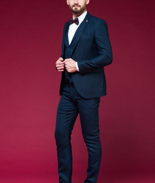 Мужской приталенный пиджак синего цвета. Арт.:2-455-5