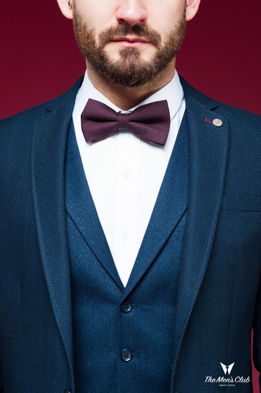 Костюм-двойка насыщенного синего цвета (жилет+брюки). Арт.:4-455-5