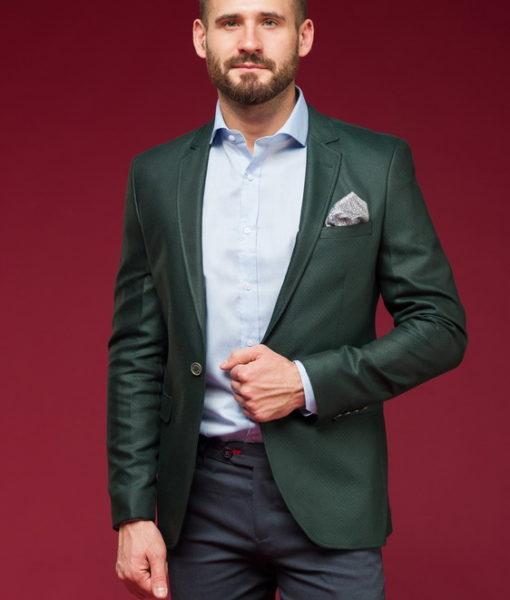 Темно-зеленый приталенный пиджак J-458OW