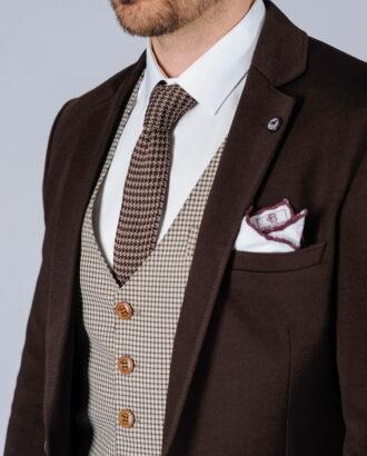 Коричневый мужской пиджак на одну пуговицу. Арт.:2-120-4