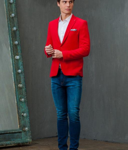Красный приталенный мужской пиджак. Арт.:2-422-3