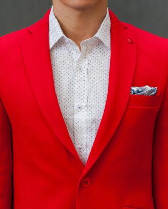 Красный приталенный мужской пиджак J-422SM