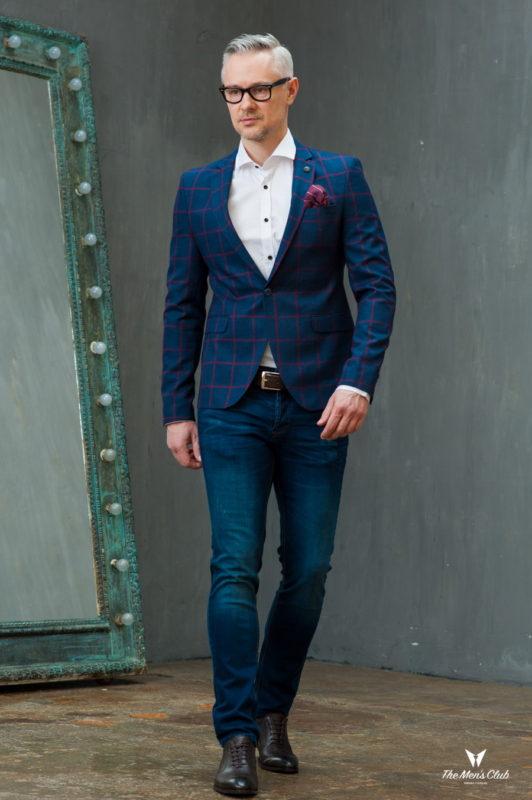 Синий пиджак в крупную красную клетку. Арт.:2-423-2