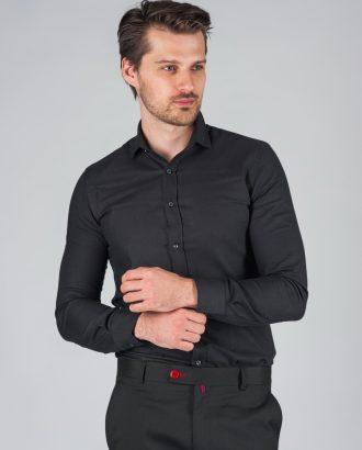 Приталенная рубашка черного цвета. Арт.:5-001-8
