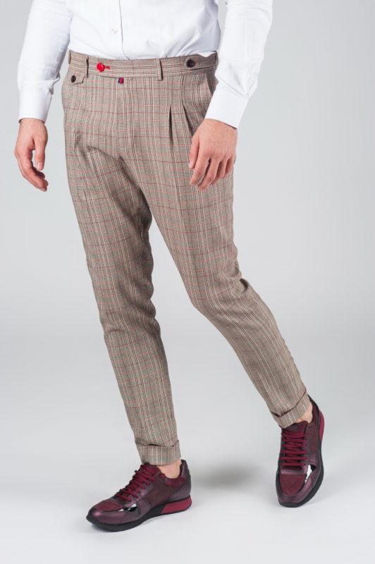 Мужские брюки в клетку с защипами. Арт.:6-003-3