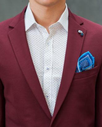 Приталенный мужской пиджак бордового цвета J-425SC