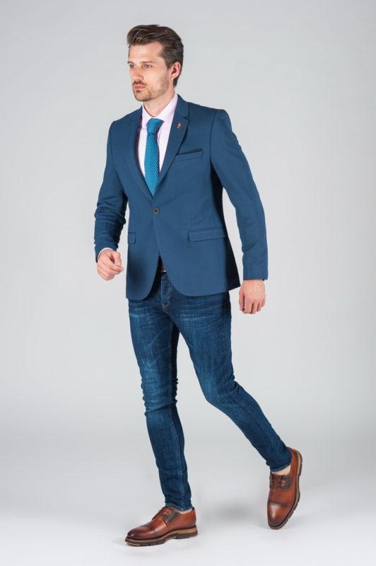 Мужской укороченный пиджак синего цвета Арт.:2-005-2