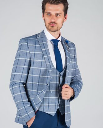 Синий костюм в клетку (пиджак + жилет) Арт.:4-012-1