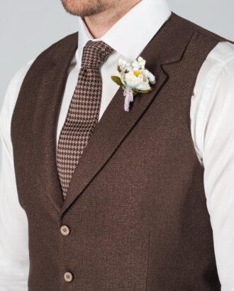 Коричневый костюм-двойка (жилет+брюки) S-013OW