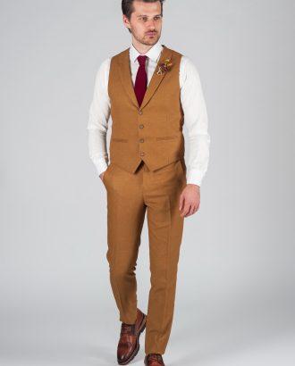 Костюм-двойка горчичного цвета (жилет+брюки) Арт.:4-014-5