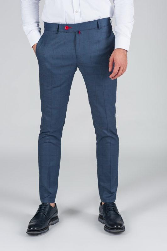 Синие брюки с контрастной клеткой. Арт.:6-019-3
