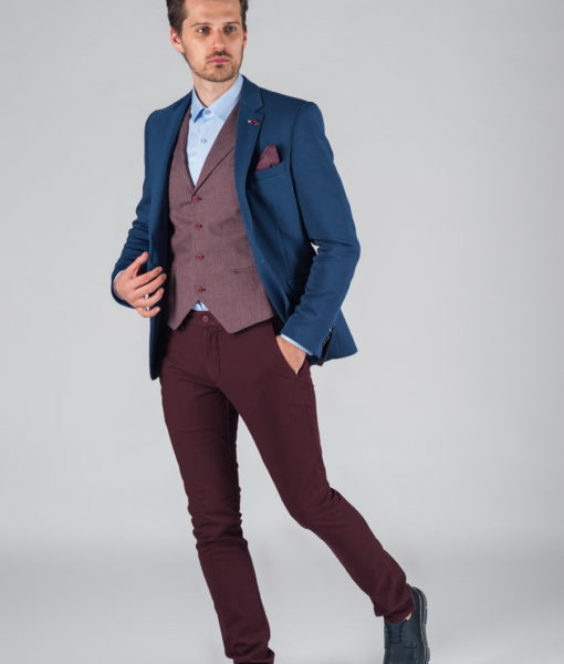 Приталенный повседневный пиджак синего цвета Арт.:2-025-1
