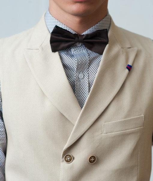 Двойка кремового цвета из хлопка (жилет+брюки). Арт.:4-426-3