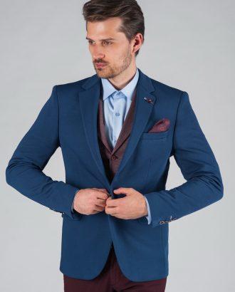 Приталенный повседневный пиджак синего цвета Арт. 2-025-1 ... 61076fead1f