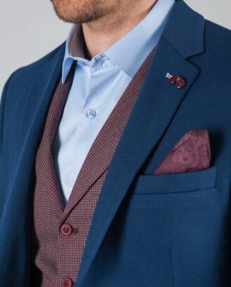 Приталенный повседневный пиджак синего цвета J-025SC