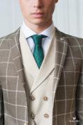 Пиджак цвета хаки в крупную клетку. Арт.:2-429-1