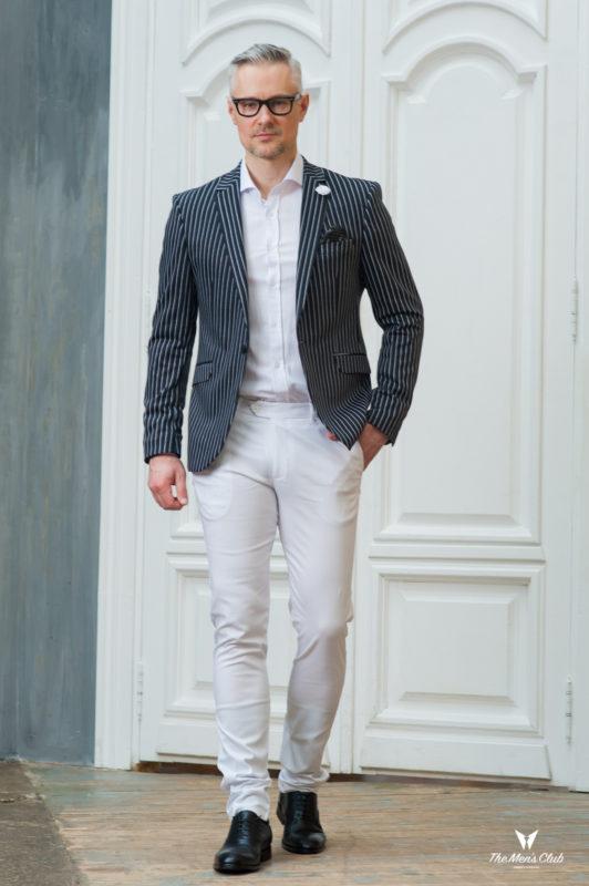 Черный мужской пиджак в белую полоску. Арт.:2-431-1