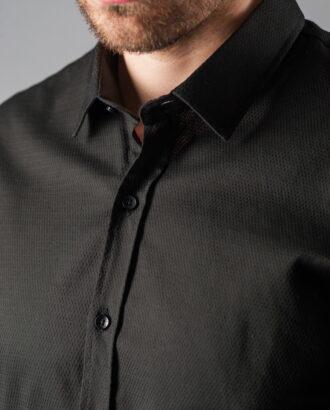 Черная рубашка из фактурной ткани. Арт.:5-304-8