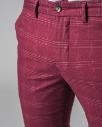 Бордовые брюки в клетку. Арт.:6-320-2