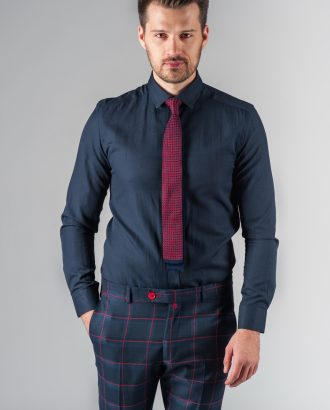 Приталенная рубашка чернильного цвета. Арт.:5-201-3