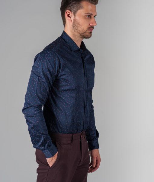 Темно-синяя рубашка из хлопка