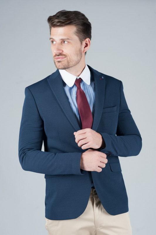 Укороченный мужской пиджак тёмно-синего цвета. Арт.:2-243-1