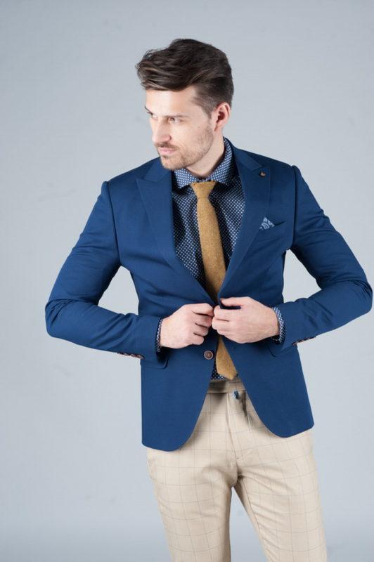 Летний пиджак без подкладки синего цвета. Арт.:2-244-8