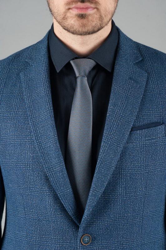 Мужской пиджак в клетку синего цвета. Арт.:2-248-2
