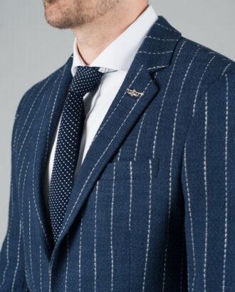 Темно-синий пиджак в полоску . Арт.:2-253-2