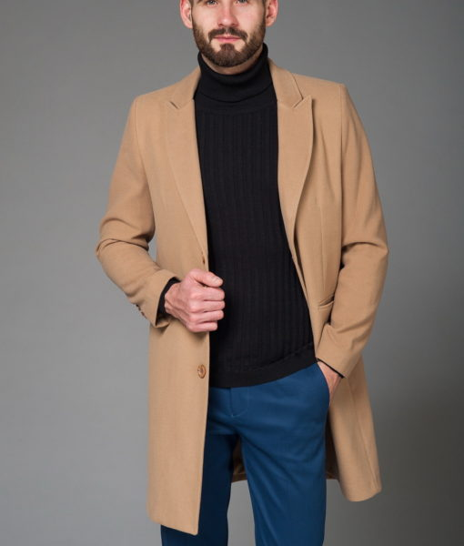 Стильное мужское пальто бежевого цвета. Арт.:1-440-6