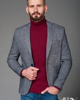 Серый пиджак с накладными карманами J-461SM