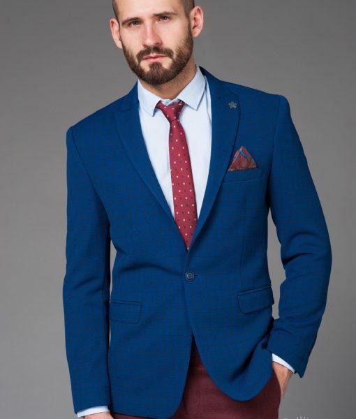 Синий приталенный пиджак в клетку. Арт.:2-464-4