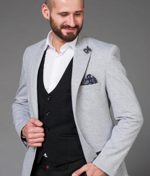 Серый мужской повседневный пиджак. Арт.:2-465-4