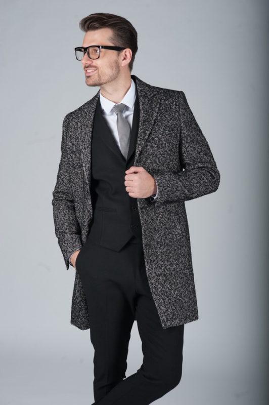 Мужское демисезонное пальто серого цвета. Арт.:1-270-2