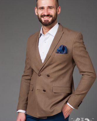 Двубортный пиджак бежевого цвета. Арт.:2-467-4