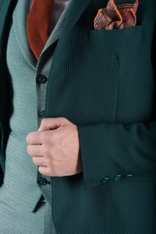 Фактурный зеленый пиджак. Арт.:2-271-4