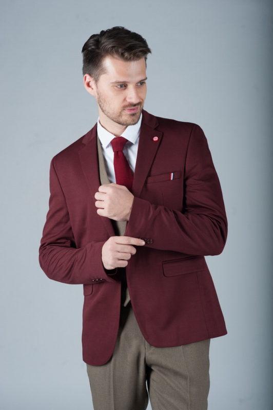 Стильный бордовый мужской пиджак. Арт.:2-272-4