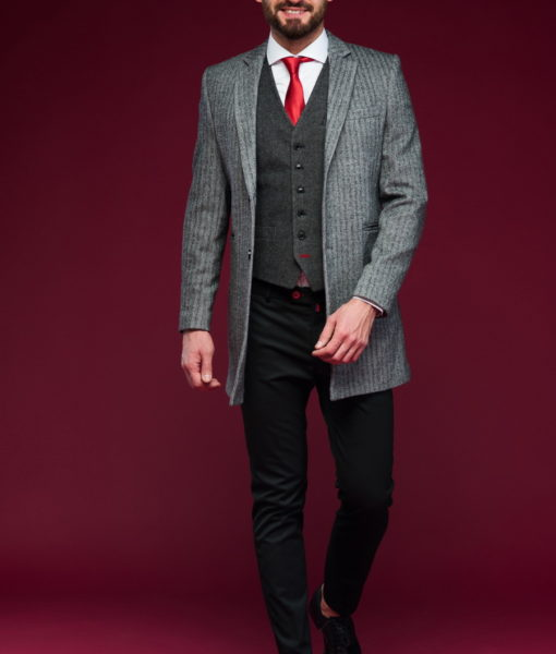 Элельное мужское пальто приталенного кроя. Арт.:1-441-3