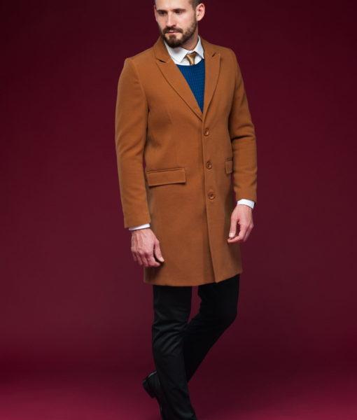Классическое мужское пальто горчичного цвета. Арт.:1-442-6